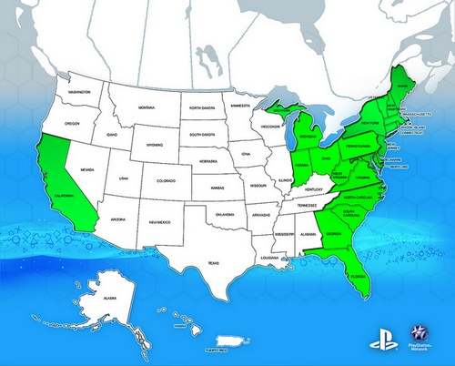 штаты США, где работает PSN
