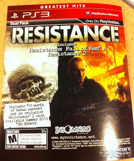 фотография вкладыша-анонса Resistance Greatest Hits Dual Pack